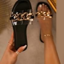 Zapatillas con Cadena de Tacón Plano de Moda