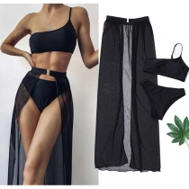 Sexy One-shoulder Top + Low-waist Briefs + Gauze Skirt Swimsuit Three-piece Set