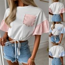 Fashion Plaid Spliced Lotus Sleeve Round Neck T-shirt