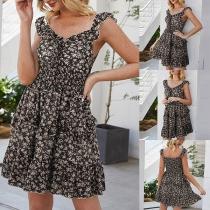 Fresh Style Sleeveless V-neck High Waist Printed Dress