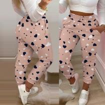 Casual Style Elastic Waist Heart Printed Pants