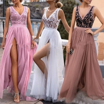 Sexy Backless V-neck High Waist Slit Hem Lace Spliced Party Dress