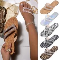 Zapatillas con Strass de Tacón Plano de Moda