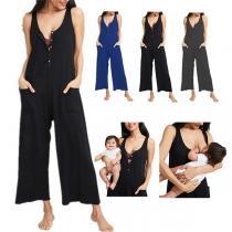 Fashion Solid Color Sleeveless V-neck High Waist Breastfeeding Jumpsuit