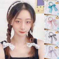 Sweet Style Pearl Inlaid Bow-knot Head Band  2 Piece/Set