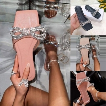 Zapatillas con Nudo de Lazo de Strass de Puntera Abierta de Tacón Plano de Moda
