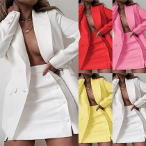 OL Style Long Sleeve Solid Color Slim Fit Blazer + Skirt Two-piece Set