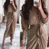 Sexy Deep V-neck Long Sleeve Irregular Hem Solid Color Wrinkled Shirt Dress