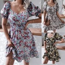Sweet Style Lantern Sleeve Square Collar Ruffle Hem Printed Dress