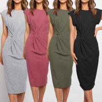 Elegant Solid Color Sleeveless Round Neck Slim FDit Twisted Dress
