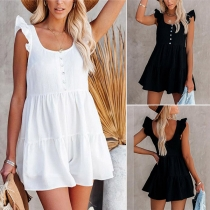 Sexy Backless Ruffle Cuff Solid Color High Waist Romper