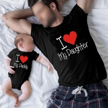Casual Style Letters Printed Short Sleeve Round Neck Parent-child T-shirt