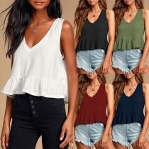 Fashion Solid Color Sleeveless V-neck Ruffle Hem Top