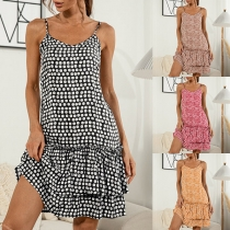 Sexy Backless Dual-layer Ruffle Hem Dots Printed Sling Dress