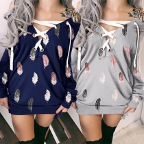 Sexy Lace-up V-neck Long Sleeve Feather Printed Sweatshirt Dress