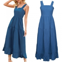 Sexy Backless Square Collar High Waist Solid Color Ruffle Hem Sling Dress