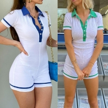 Fashion Contrast Color Short Sleeve POLO Collar Slim Fit Sports Romper