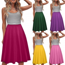 Fashion Stripe Spliced Backless High Waist S ling Beach Dress
