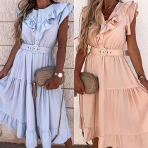 Sweet Style Sleeveless V-neck Solid Color Ruffle Dress with Waistband