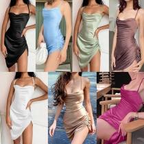 Sexy Backless Irregular Hem Solid Color SLing Wrinkled Dress