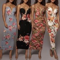Sexy Backless Deep V-neck Slit Hem Slim Fit Sling Printed Dress