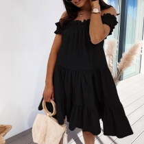 Sweet Style Stringy Selvedge Boat Neck Solid Color Loose Dress