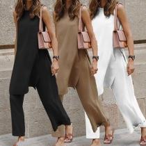 Casual Style Slit Hem Sleeveless Loose Top + Wide-leg Pants Two-piece Set