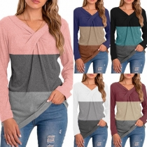 Fashion Contrast Color Crossover V-neck Long Sleeve T-shirt