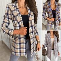 OL Style Long Sleeve Slim Fit Single-button Plaid Blazer (Size falls small)