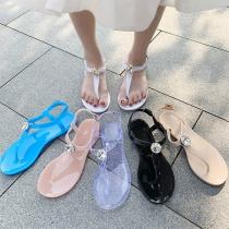 Simple Style Flat Heel Rhinestone Inlaid Thong Sandals