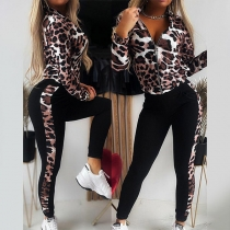 Casual Style Long Sleeve Leopard Printed Zipper Top + Pants Sports Suit