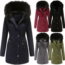 Fashion Long Sleeve Faux Fur Spliced Hooded Drawstring Waist Padded Coat