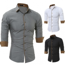 Fashion Long Sleeve POLO Collar Single-breasted Contrast Color Man's Shirt