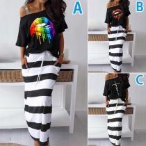 Sexy Off-shoulder Short Sleeve T-shirt + Stripe Skirt Two-piece Set