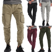 Casual Style Solid Color Middle Waist Side-pocket Man's Pants