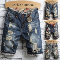 Retro Style Middle Waist Ripped Slim Fit Knee-length Denim Shorts for Man