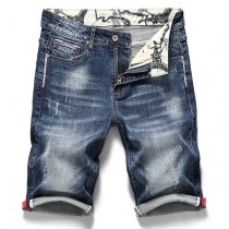 Fashion Middle Waist Slim Fit Faded Knee-length Denim Shorts for Man