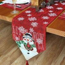 Cute Style Snowflake Snowman Pattern Decorative Tablecloth