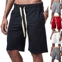 Fashion Solid Color Drawstring Waist Man's Knee-length Beach Shorts