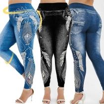 Fashion High Waist Printed Imitation Denim Stretch Leggings