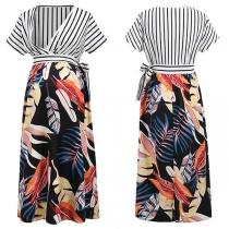 Sexy V-neck Stripe Spliced Short Sleeve High Waist Printed Maternity Lactation Dress