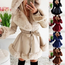 Fashion Faux Fur Spliced Long Sleeve Hooded Coat with Waist Strap