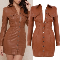 Sexy Backless Long Sleeve POLO Collar Single-breasted Slim Fit PU Leather Dress
