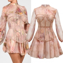 Fashion Lantern SLeeve Mock Neck Dress + Gauze Smock Two-piece Set