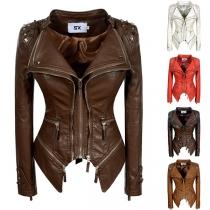 Punk Style Long Sleeve Irregular Hem Slim Fit Rivets Zipper PU Leather Jacket