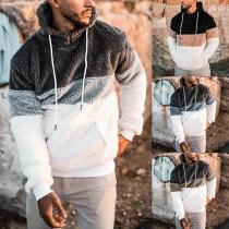 Fashion Contrast Color Long Sleeve Hooded Man's Plush Sweatshirt