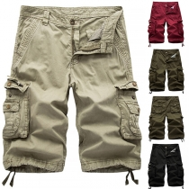 Casual Style Solid Color Middle Waist Side-pocket Man's Knee-length Shorts