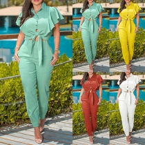 OL Style Lotus Sleeve Knotted Hem Top + High Waist Pants Two-piece Set