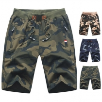 Casual Style Drawstring Middle Waist Camouflage Printed Man's Knee-length Shorts