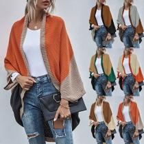 Chic Style Contrast Color Dolman Sleeve Irregular Hem Knit Cardigan